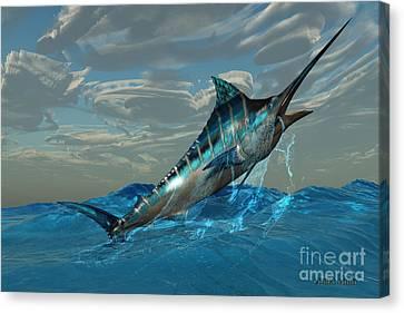Blue Marlin Jump Canvas Print by Corey Ford