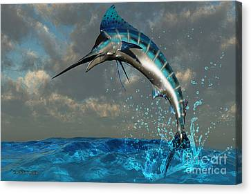 Blue Marlin Splash Canvas Print by Corey Ford