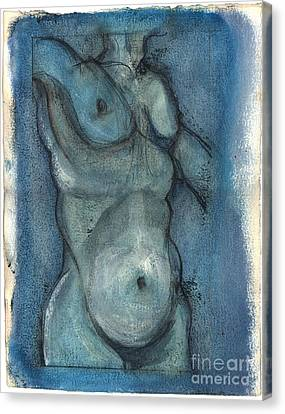Canvas Print featuring the painting Blue Marvel, Superhero - Male Nude by Carolyn Weltman