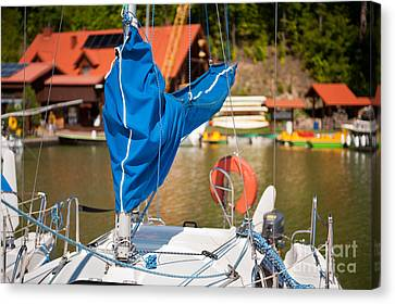 Sail Cloth Canvas Print - Blue Mast Covering Sheath Foreground by Arletta Cwalina