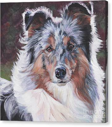 Canvas Print featuring the painting Blue Merle Sheltie by Lee Ann Shepard