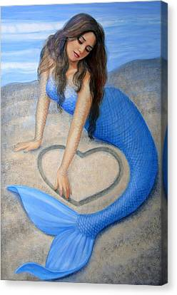Blue Mermaid's Heart Canvas Print by Sue Halstenberg