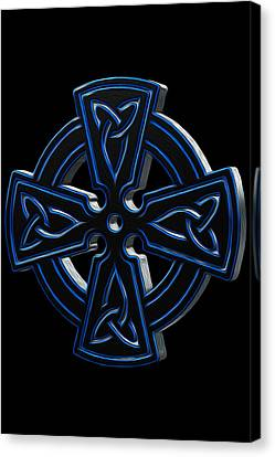 Blue Metallic Celtic Cross Canvas Print by Jesse Redheart