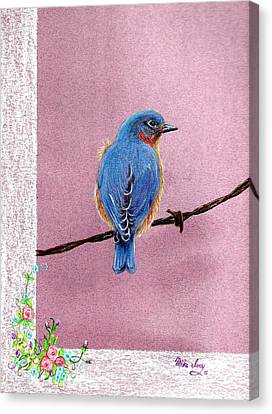 Canvas Print featuring the drawing Blue by Mike Ivey