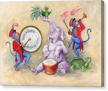 Canvas Print featuring the painting Blue Monkeys Circus by Lora Serra