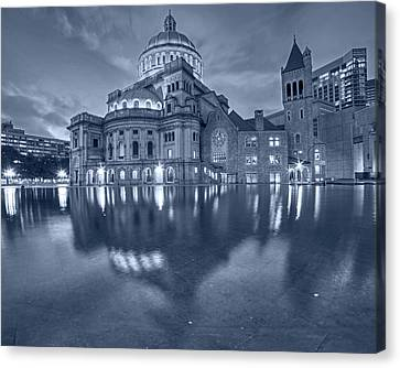 Blue Monochrome Boston Christian Science Building Reflecting Pool Canvas Print by Toby McGuire