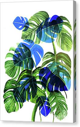 Banana Canvas Print - Blue Monstera by Ana Martinez
