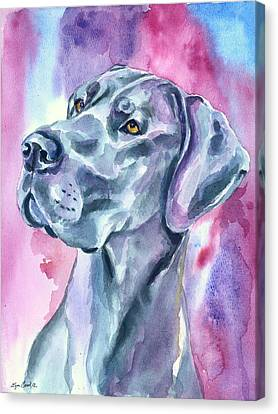 Watercolor Pet Portraits Canvas Print - Blue Mood - Great Dane by Lyn Cook