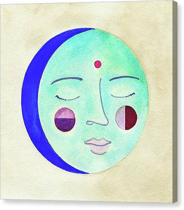 Face Canvas Print - Blue Moon by Clary Sage Moon