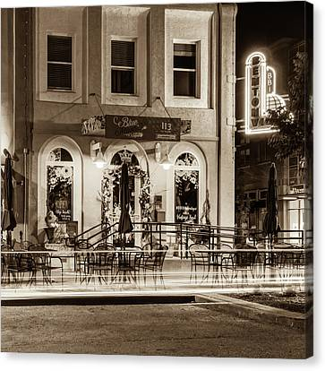 Blue Moon On The Square And Bentonville Neon - Sepia Canvas Print by Gregory Ballos