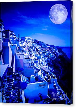 Sea Moon Full Moon Canvas Print - Blue Moon Over Fira Santorini by Rdm-Margaux Dreamations