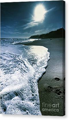 Canvas Print featuring the photograph Blue Moonlight Beach Landscape by Jorgo Photography - Wall Art Gallery