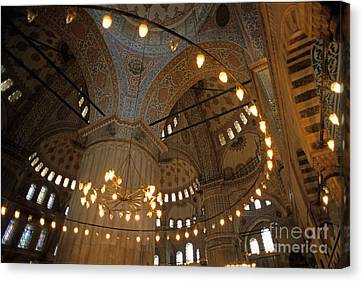 Blue Mosque Interior Canvas Print by Sami Sarkis