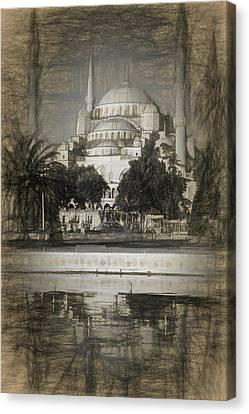 Byzantine Canvas Print - Blue Mosque - Sketch by Stephen Stookey