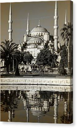 Byzantine Canvas Print - Blue Mosque - Vinatge Sepia by Stephen Stookey
