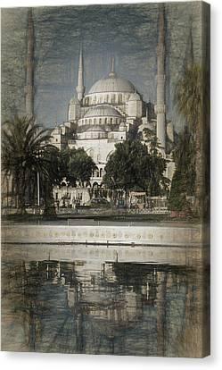 Blue Mosque - Vintage Blue Sketch Canvas Print