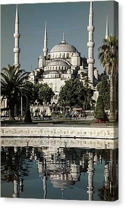 Byzantine Canvas Print - Blue Mosque - Vintage Blue by Stephen Stookey