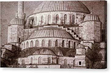 Blue Mosque - Vintage Print Canvas Print by Stephen Stookey