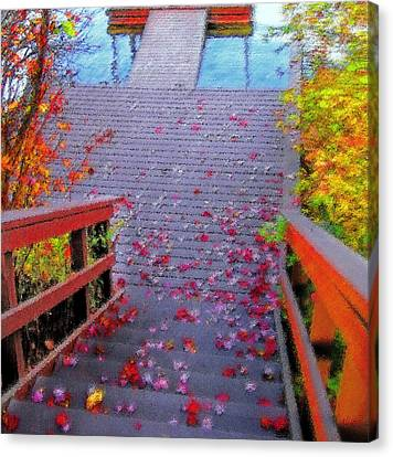 Blue Mountain Lake 11 - Dock Abstract Canvas Print by Steve Ohlsen