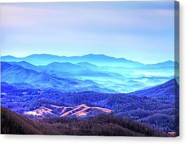Blue Mountain Mist Canvas Print by Dale R Carlson