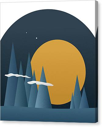 Canvas Print featuring the mixed media Blue Mountain Sunset by Frank Tschakert
