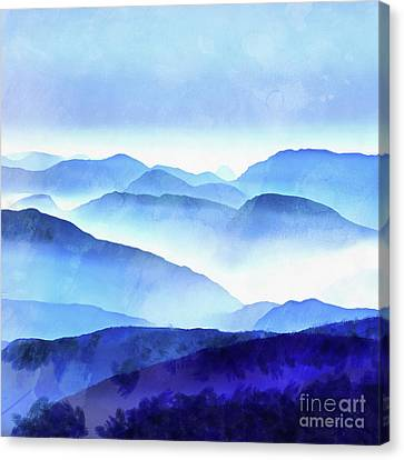 Blue Mountains Square Canvas Print by Edward Fielding