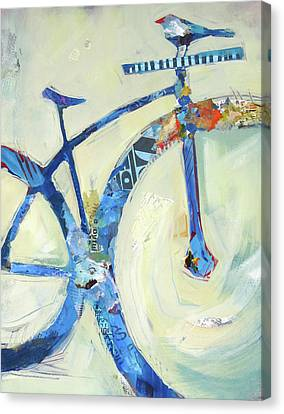Blue Mt Bike And Bird Canvas Print by Shelli Walters