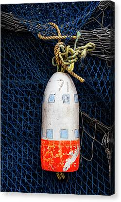 Blue Net And Orange And White Buoy Canvas Print by Carol Leigh