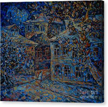 Pets Canvas Print - Blue Night White Dog by Andrey Soldatenko