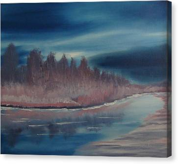 Canvas Print featuring the painting Blue Nightfall Evening by Rod Jellison