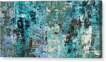 Canvas Print featuring the painting Blue Ocean - Abstract Art by Carmen Guedez