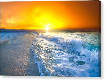 Canvas Print featuring the photograph Blue Ocean Landscape Wave Photography Red Surise by Eszra Tanner