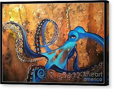 Blue Octopus Canvas Print by Elizabeth Dixon