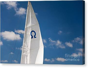 Sail Cloth Canvas Print - Blue Omega Sign Mast Detail by Arletta Cwalina