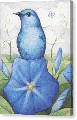 Blue On Blue Canvas Print by Amy S Turner