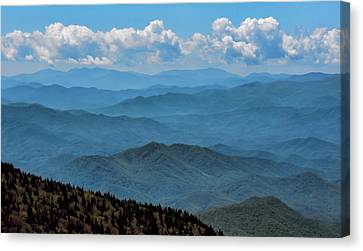 Blue On Blue - Great Smoky Mountains Canvas Print by Nikolyn McDonald
