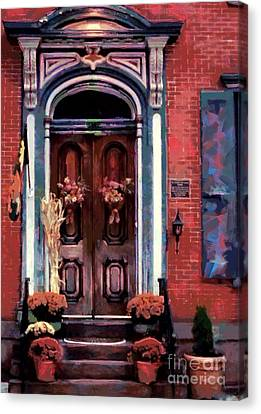 Blue On Brick - Jim Thorpe Autumn Door Canvas Print