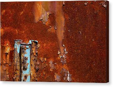 Canvas Print featuring the photograph Blue On Rust by Karol Livote