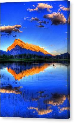 Blue Orange Mountain Canvas Print
