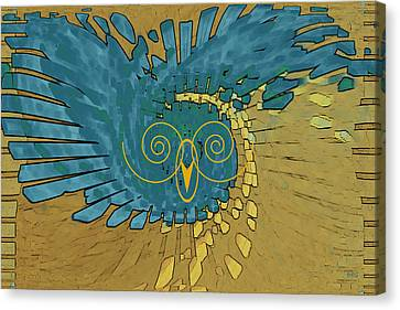Canvas Print featuring the digital art Abstract Blue Owl by Ben and Raisa Gertsberg