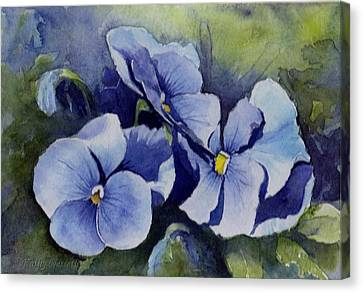 Blue Pansies Canvas Print by Kathy Nesseth