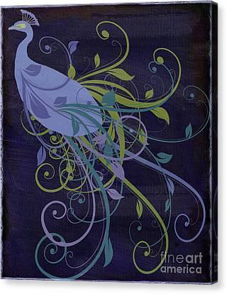 Peafowl Canvas Print - Blue Peacock Art Nouveau by Mindy Sommers