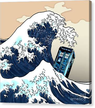 blue Phone booth vs the great wave Canvas Print by Three Second