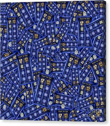Blue Phone Box Pattern Canvas Print by Three Second