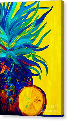 Blue Pineapple Abstract Canvas Print by Eloise Schneider