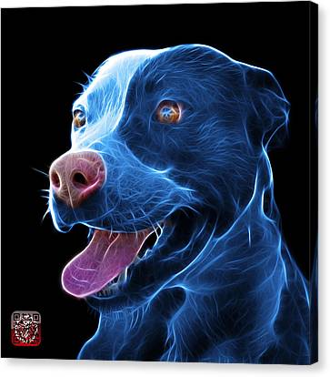 Bulls Canvas Print - Blue Pit Bull Fractal Pop Art - 7773 - F - Bb by James Ahn