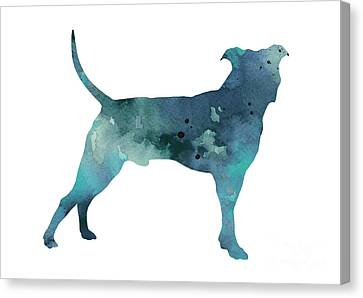Bull Canvas Print - Blue Pit Bull Watercolor Art Print Painting by Joanna Szmerdt