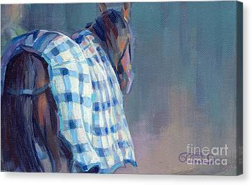 Blue Plaid Canvas Print by Kimberly Santini