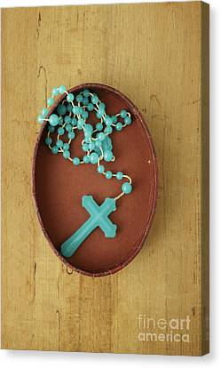 Blue Plastic Rosary In Oval Box Canvas Print by Edward Fielding