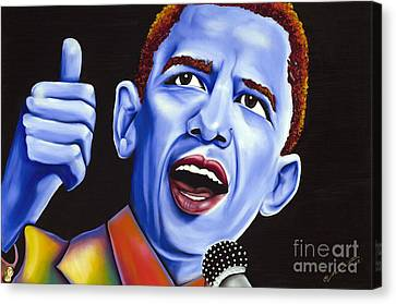 Barack Obama Canvas Print - Blue Pop President Barack Obama by Nannette Harris